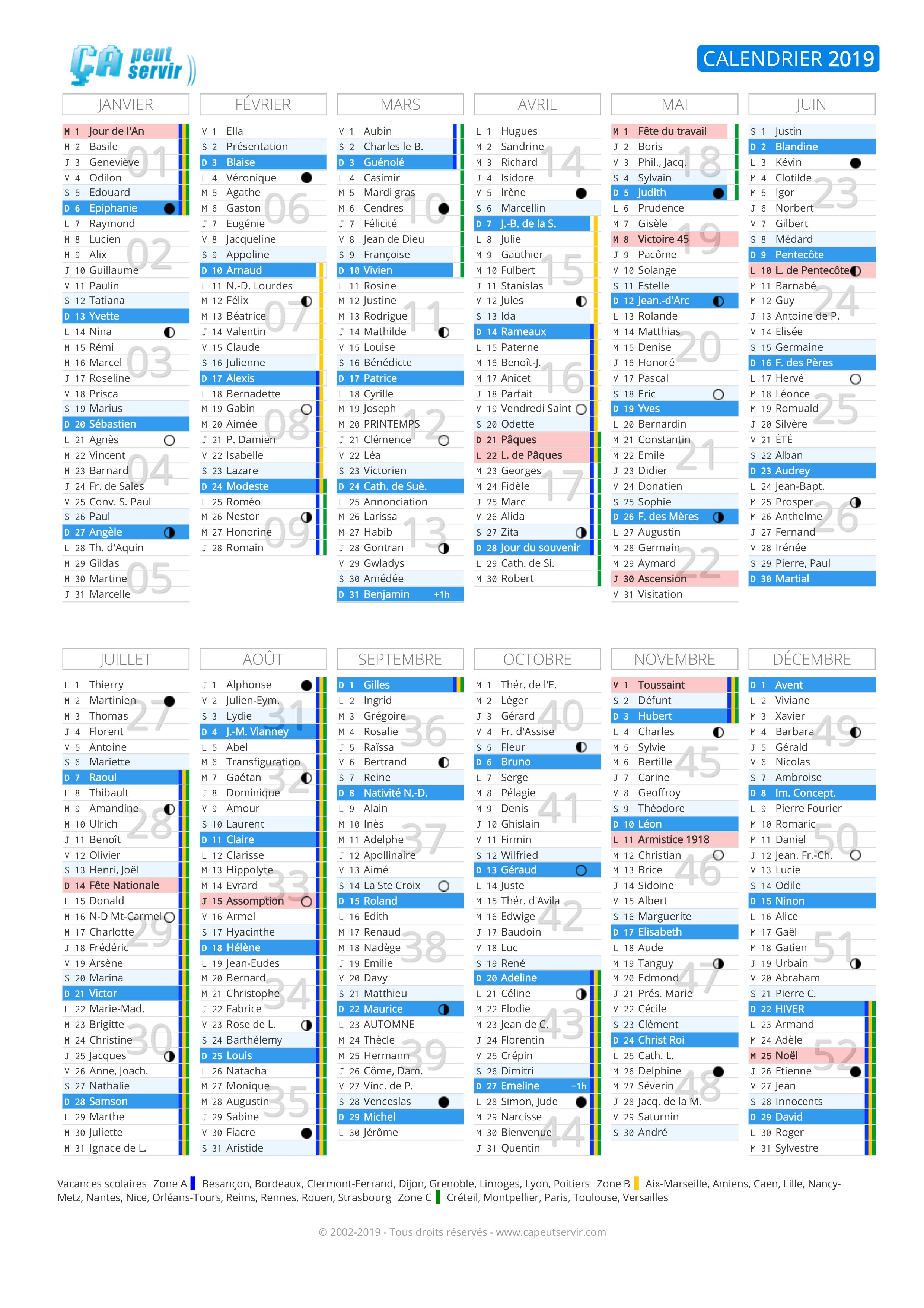 Calendrier 2021 Ca Peut Servir Calendrier 2019 : Vacances, jours fériés, numéros de semaine