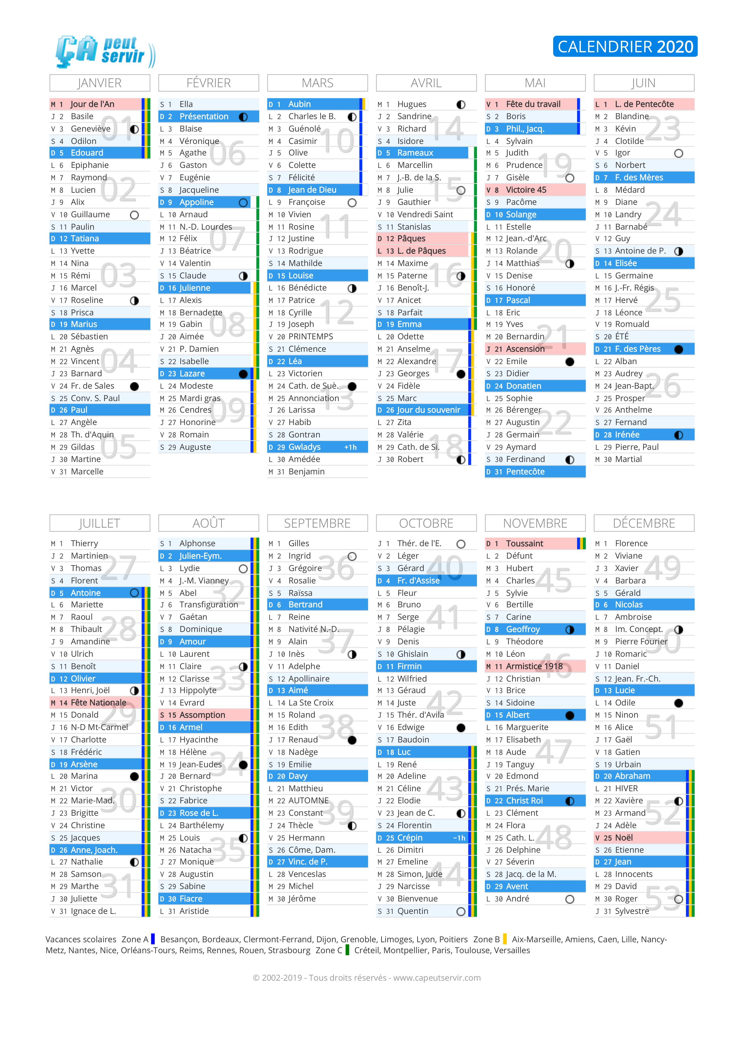 Calendrier 2020 : Vacances, jours fériés, numéros de semaine