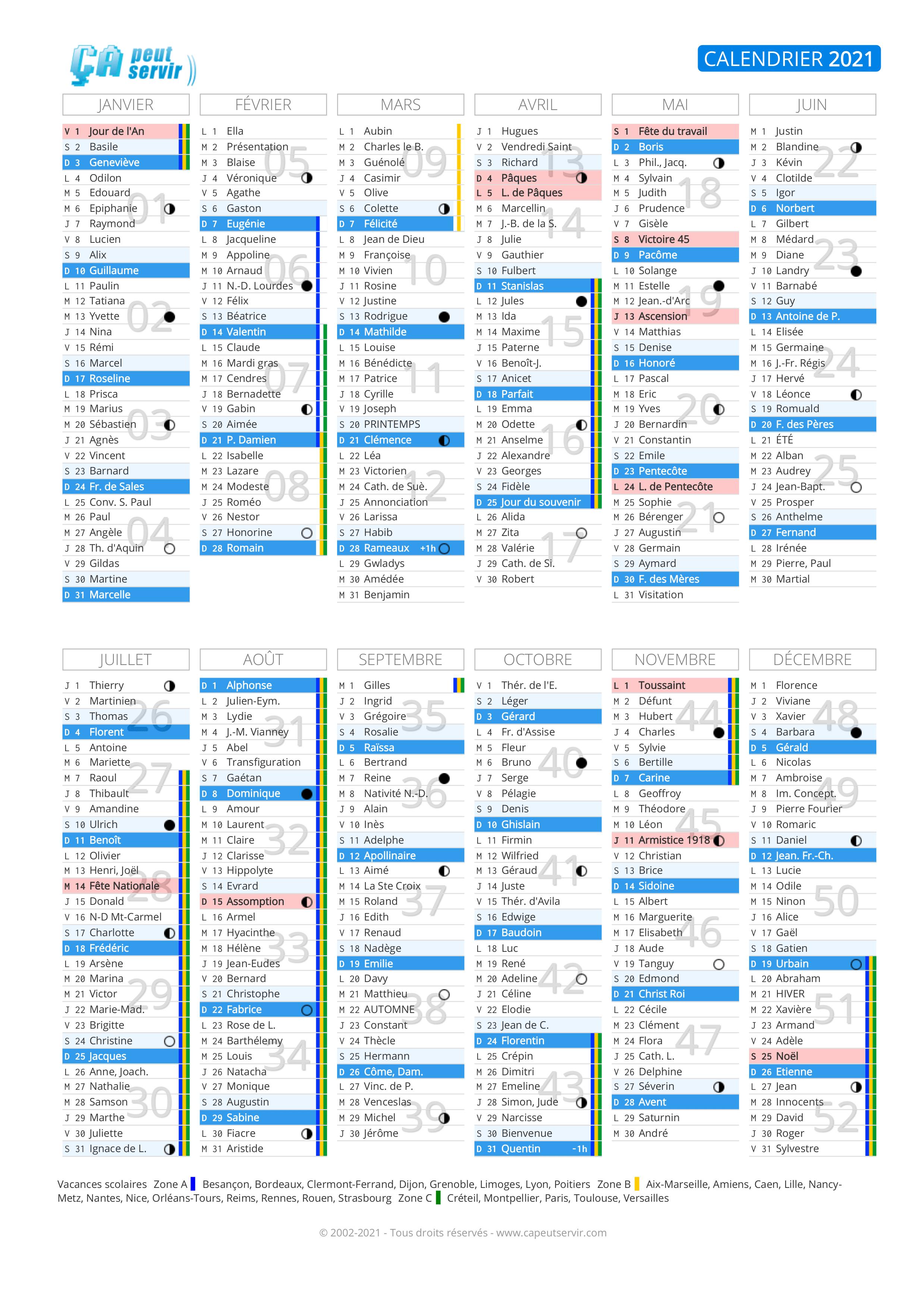 Calendrier 2021 : Vacances, jours fériés, numéros de semaine
